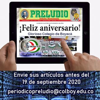 """Escriba en el periódico """"PRELUDIO"""" del Colegio de Boyacá, edición virtual 2020"""